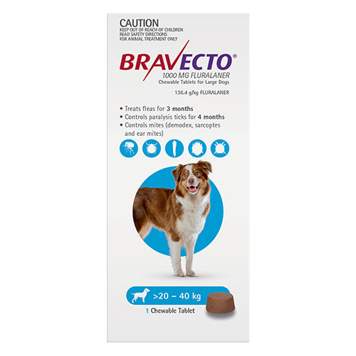 Bravecto For Large Dogs 20-40kg (Blue)