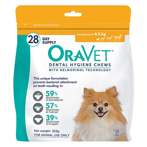 Oravet Dental Chews for X-Small Dogs (28 Pieces) Orange