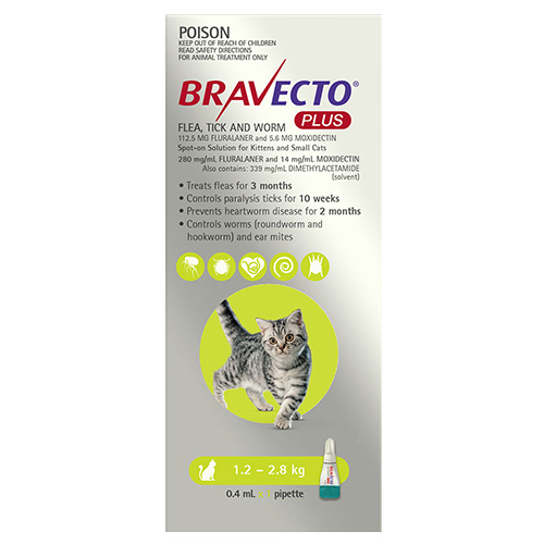 Bravecto Plus for Small Cats  (1.2 – 2.8 kg) Green