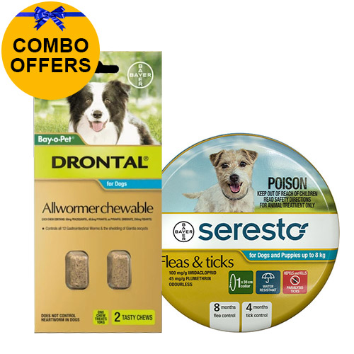 Seresto Collar + Drontal Allwormer for Dogs Up To 8 Kg