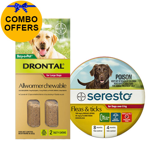 Seresto Collar + Drontal Allwormer for Dogs Over 8 Kg