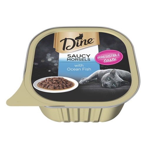 Dine Cat Adult Saucy Morsels Ocean Fish 85g X 14 Trays