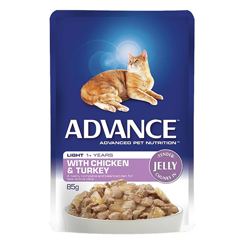 Advance Adult Cat Light Chicken & Turkey in Jelly Wet Food Pouch for Food