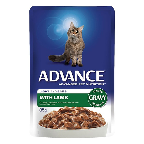 Advance Adult Cat Light Lamb in Gravy Wet Food Pouch for Food