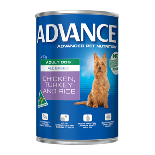 Advance Adult Dog All Breed with Chicken, Turkey & Rice Cans for Food
