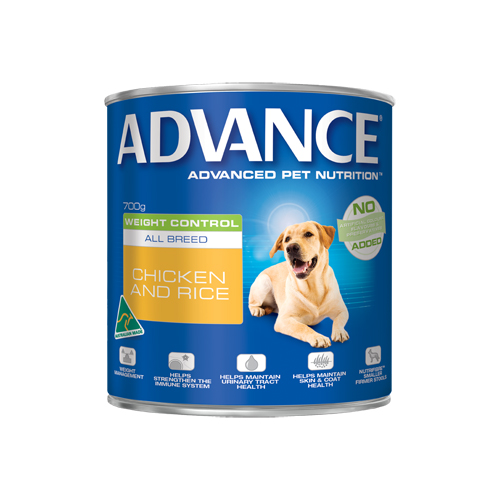 Advance Adult Dog Weight Control All Breed with Chicken & Rice Cans for Food