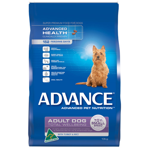 Advance Adult Dog Total Wellbeing Toy/Small Breed with Turkey & Rice Dry for Food