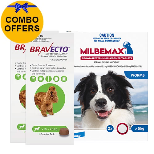 Bravecto Chew + Milbemax Combo Pack for Dogs 10-20kg (Medium Dogs - Green)