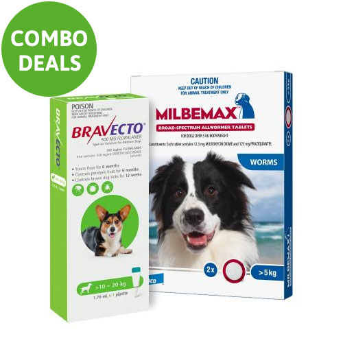 Bravecto Spot On + Milbemax Combo Pack For Dogs for Dogs 10-20kg (Medium Dogs - Green)