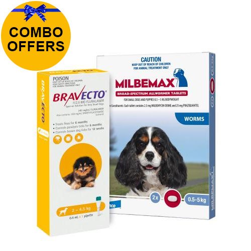 Bravecto Spot On + Milbemax Combo Pack For Dogs for Dogs 2-4.5kg (Toy Dogs - Yellow)
