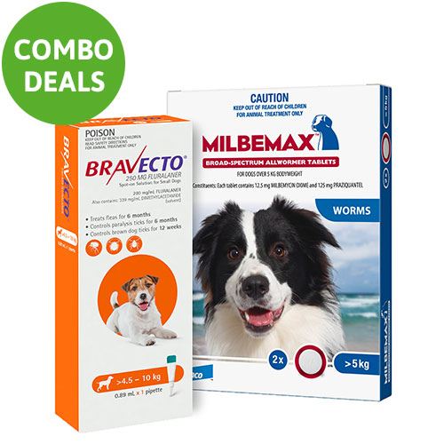 Bravecto Spot On + Milbemax Combo Pack For Dogs for Dogs 4.5-10kg (Small Dogs - Orange)