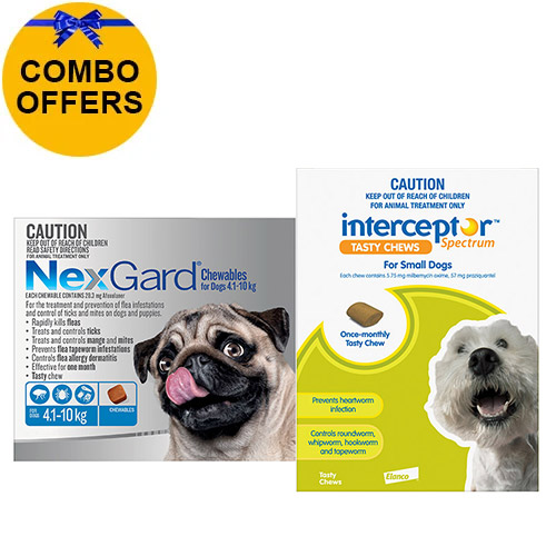 Nexgard + Interceptor Combo Pack For Dogs 4 To 10Kg -Nexgard (Blue) + Interceptor(Green)