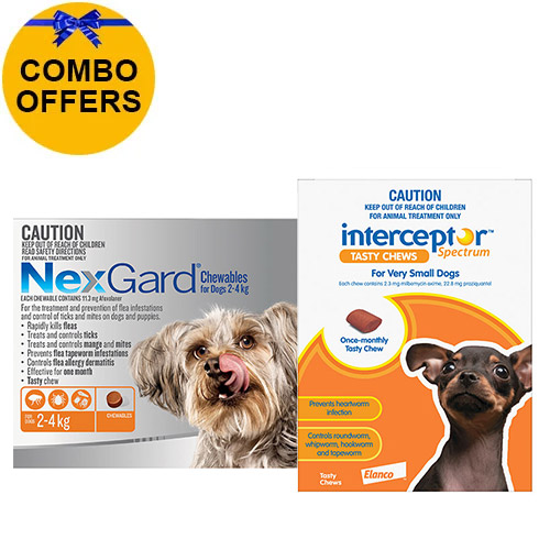 Nexgard + Interceptor Combo Pack For Dogs Up To 4Kg - Nexgard (Orange) + Interceptor(Brown)