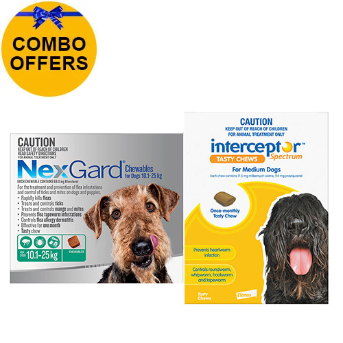 Nexgard + Interceptor Combo Pack For Dogs 10 To 22Kg -Nexgard (Green) + Interceptor(Yellow)