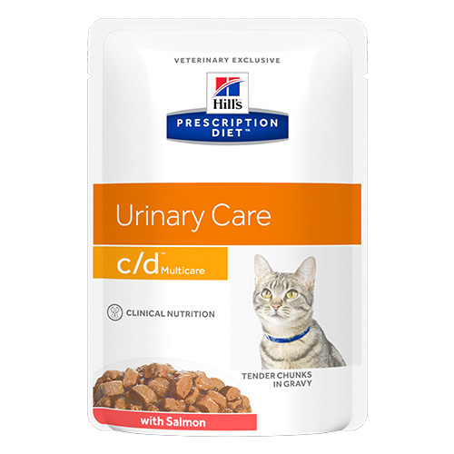 Hill's Prescription Diet c/d Multicare with Salmon Cat Wet Pouch 85gmX12