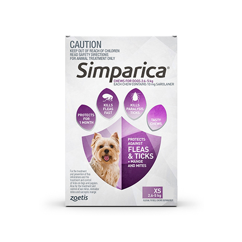 Simparica Chewables for Very Small Dogs 2.5-5KG (PURPLE)