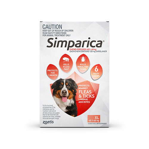 Simparica Chewables for XLarge Dogs 40.1-60KG (RED)