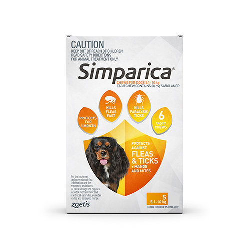 Simparica Chewables for Small Dogs 5.1-10KG (ORANGE)