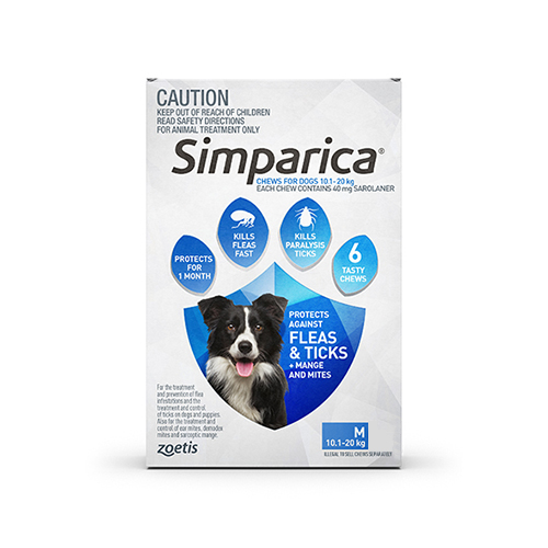 Simparica Chewables for Medium Dogs 10.1-20KG (BLUE)