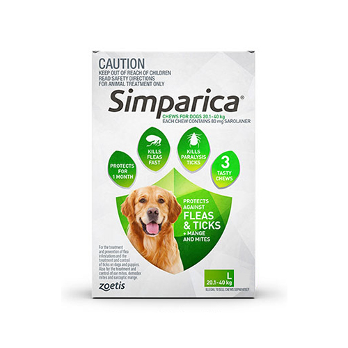 Simparica Chewables for Large Dogs 20.1-40KG (GREEN)