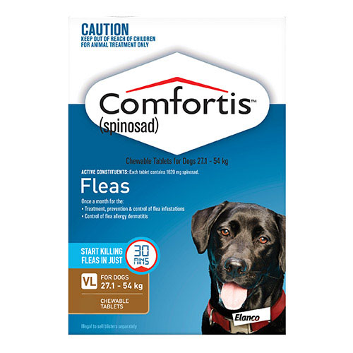 Comfortis Chewable Tablets For Dogs 27.1 - 54 Kg (Brown)