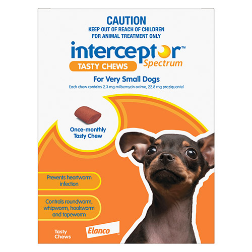 Interceptor Spectrum Tasty Chews For Very Small Dogs Up To 4Kg (Brown)