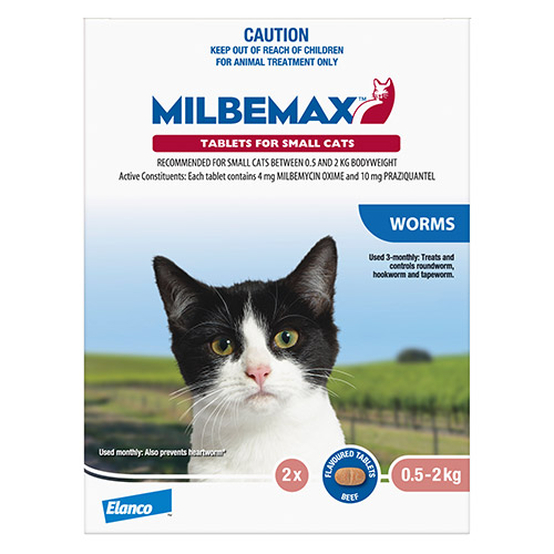 Milbemax Allwormer Tablets For Small Cats 0.5 To 2 Kg
