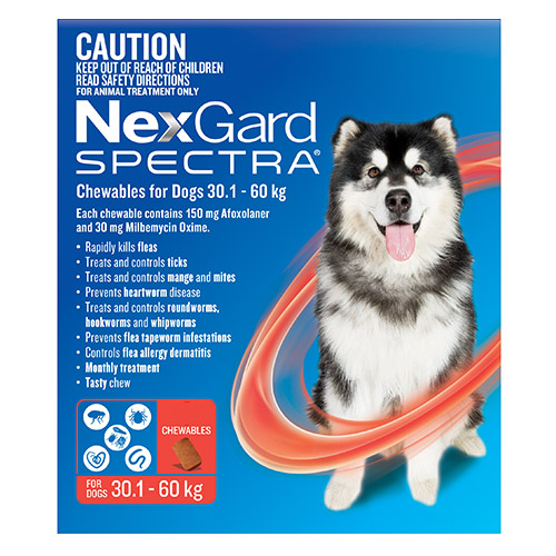 Nexgard Spectra Chewables Red for Extra Large Dogs (30.1-60kg)