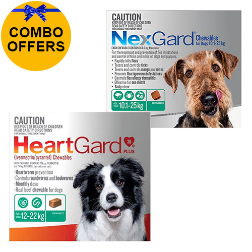 Nexgard + Heartgard Combo Pack for Large Dogs-Nexgard Green 10-25kg + Heartgard Plus Green 12-22kg