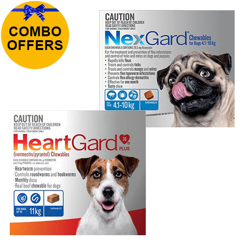 Nexgard + Heartgard Combo Pack for Medium Dogs-Nexgard Blue 4-10kg + Heartgard Plus Blue 0-11kg