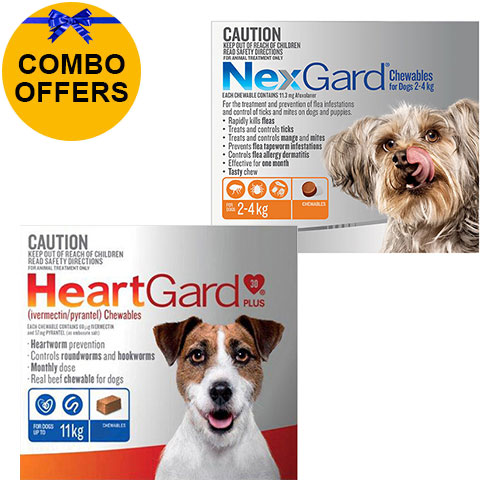 Nexgard + Heartgard Combo Pack for Small Dogs-Nexgard Orange 0-4kg + Heartgard Plus Blue 0-11kg