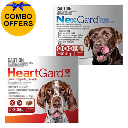 Nexgard + Heartgard Combo Pack for Extra Large Dogs-Nexgard Red 25-50kg + Heartgard Plus Brown 23-45kg