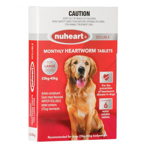 Nuheart For Dogs Generic Heartgard Tabs For Large Dogs - Nuheart 23 To 45Kg (Red)