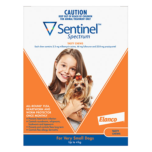 Sentinel Spectrum Tasty Chews For Very Small Dogs Up To 4Kg (Orange)
