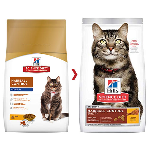 Hill's Science Diet Adult 7+ Hairball Control Chicken Senior Dry Cat Food for Food
