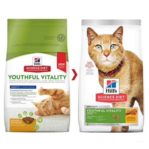 Hill's Science Diet Adult 7+ Youthful Vitality Chicken & Rice Senior Dry Cat Food for Food