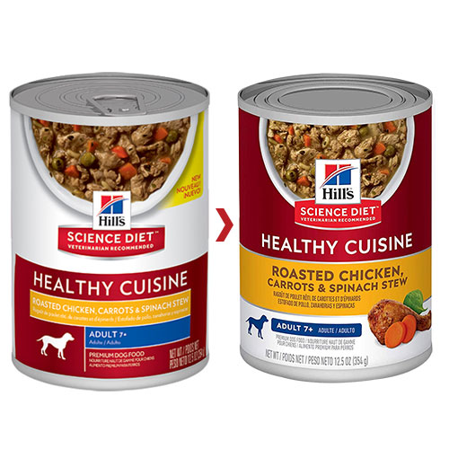 Hill's Science Diet Adult 7+ Healthy Cuisine Roasted Chicken, Carrots & Spinach Stew Canned Dog Food for Food