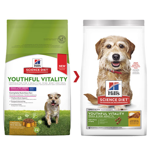 Hill's Science Diet Adult 7+ Youthful Vitality Small & Mini Chicken & Rice Dry Dog Food for Food