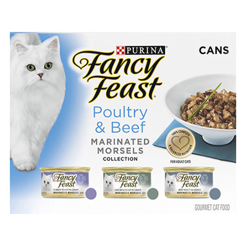 Fancy Feast Cat Adult Variety Pack Poultry and Beef Marinated Morsels for Food